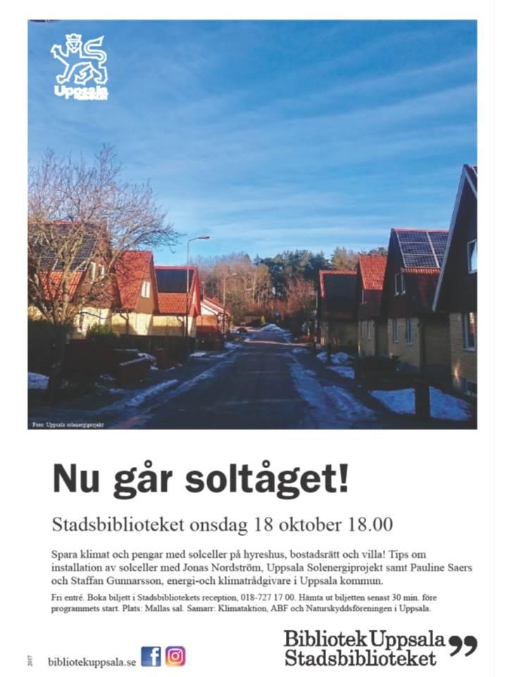 Affisch för Energi- och klimatrådgivarnas föreläsning på Stadsbiblioteket, bilden visar ett villakvarter i solsken och texten Nu går soltåget!
