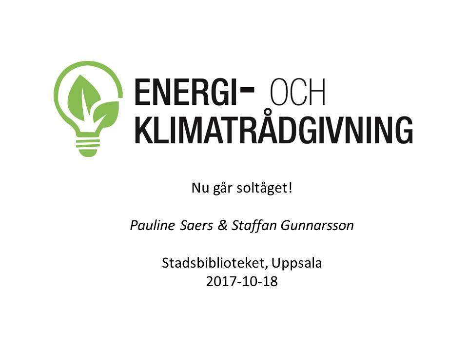 Energi- och klimatrådgivningen i Uppsala läns logotyp och texten Nu går soltåget!