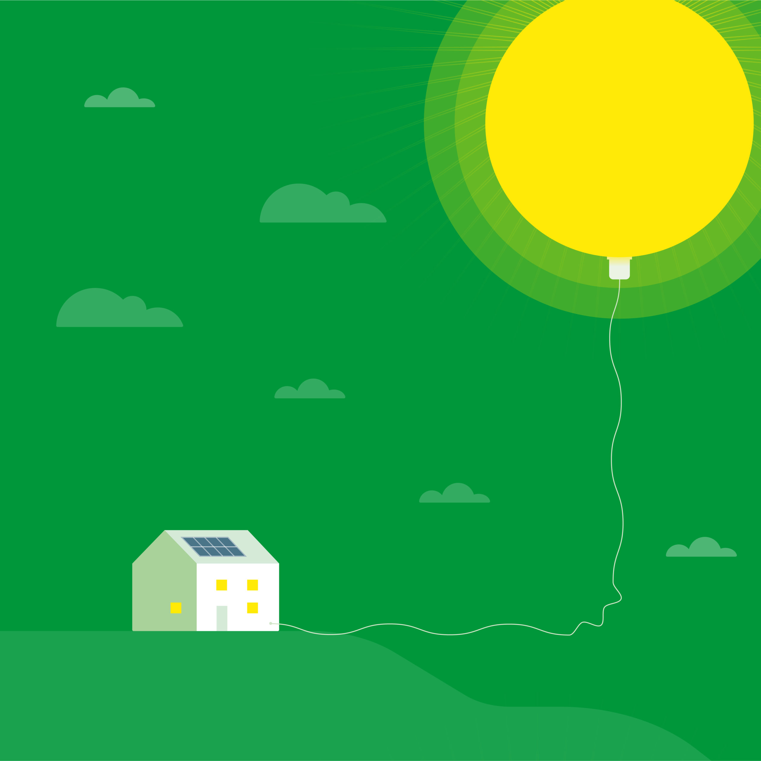 Grön bakgrund Hus kopplat till ballongsol